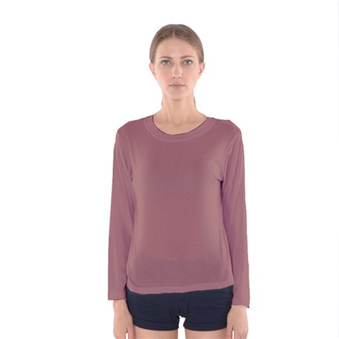 Blush Gold Coppery Pink Solid Color Women s Long Sleeve Tee by PodArtist