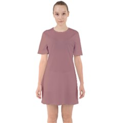 Blush Gold Coppery Pink Solid Color Sixties Short Sleeve Mini Dress