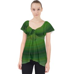 Green Background Elliptical Lace Front Dolly Top