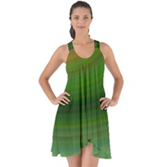 Green Background Elliptical Show Some Back Chiffon Dress