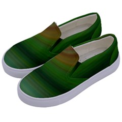 Green Background Elliptical Kids  Canvas Slip Ons by Nexatart