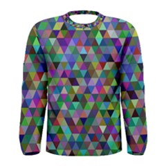 Triangle Tile Mosaic Pattern Men s Long Sleeve Tee