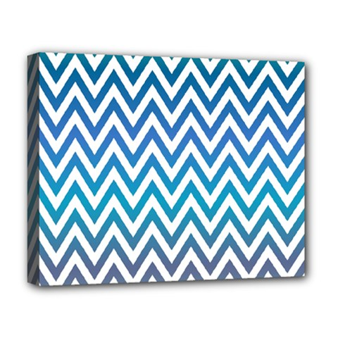 Blue Zig Zag Chevron Classic Pattern Deluxe Canvas 20  X 16   by Nexatart