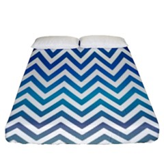 Blue Zig Zag Chevron Classic Pattern Fitted Sheet (king Size)