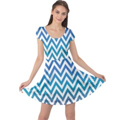 Blue Zig Zag Chevron Classic Pattern Cap Sleeve Dress