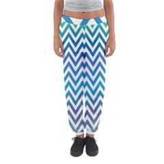 Blue Zig Zag Chevron Classic Pattern Women s Jogger Sweatpants