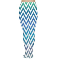 Blue Zig Zag Chevron Classic Pattern Women s Tights