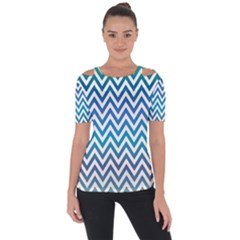 Blue Zig Zag Chevron Classic Pattern Short Sleeve Top