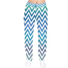 Blue Zig Zag Chevron Classic Pattern Drawstring Pants
