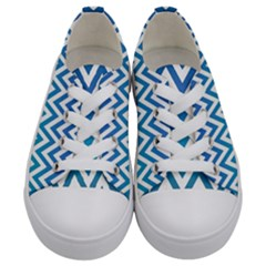 Blue Zig Zag Chevron Classic Pattern Kids  Low Top Canvas Sneakers