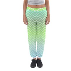 Green Line Zigzag Pattern Chevron Women s Jogger Sweatpants
