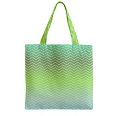 Green Line Zigzag Pattern Chevron Zipper Grocery Tote Bag