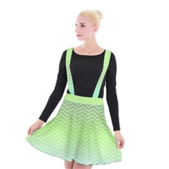 Green Line Zigzag Pattern Chevron Suspender Skater Skirt
