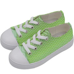 Green Line Zigzag Pattern Chevron Kids  Low Top Canvas Sneakers by Nexatart