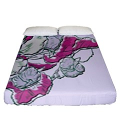 Bouquet Flowers Plant Purple Fitted Sheet (queen Size) by Nexatart