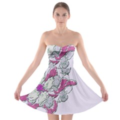 Bouquet Flowers Plant Purple Strapless Bra Top Dress