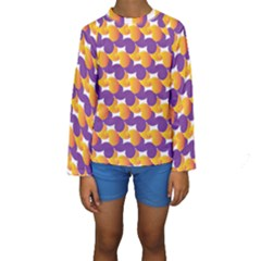 Pattern Background Purple Yellow Kids  Long Sleeve Swimwear