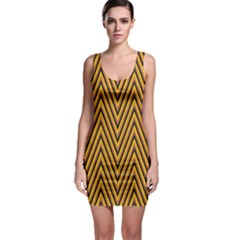 Chevron Brown Retro Vintage Bodycon Dress