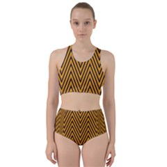 Chevron Brown Retro Vintage Racer Back Bikini Set
