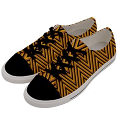 Chevron Brown Retro Vintage Men s Low Top Canvas Sneakers by Nexatart