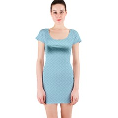 Blue Pattern Background Texture Short Sleeve Bodycon Dress