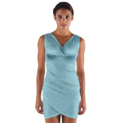 Blue Pattern Background Texture Wrap Front Bodycon Dress
