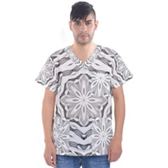 Mandala Pattern Floral Men s V Neck Scrub Top