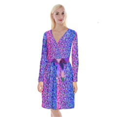 Triangle Tile Mosaic Pattern Long Sleeve Velvet Front Wrap Dress