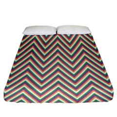 Chevron Retro Pattern Vintage Fitted Sheet (king Size) by Nexatart