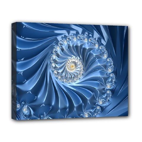 Blue Fractal Abstract Spiral Deluxe Canvas 20  X 16