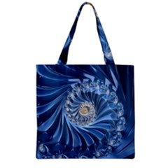 Blue Fractal Abstract Spiral Grocery Tote Bag