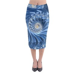 Blue Fractal Abstract Spiral Midi Pencil Skirt
