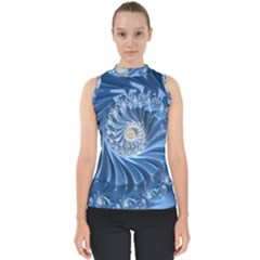 Blue Fractal Abstract Spiral Shell Top