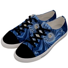 Blue Fractal Abstract Spiral Men s Low Top Canvas Sneakers by Nexatart