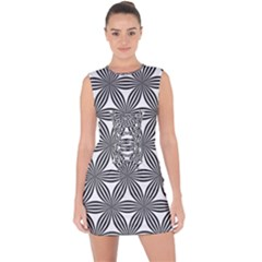 Seamless Pattern Repeat Line Lace Up Front Bodycon Dress