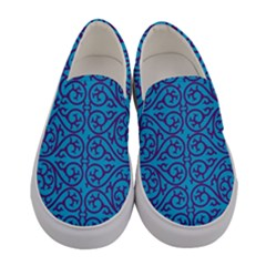 Monogram Blue Purple Background Women s Canvas Slip Ons