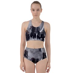 Awesome Wild Black Horses Running In The Night Racer Back Bikini Set