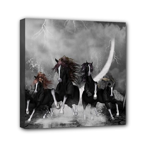 Awesome Wild Black Horses Running In The Night Mini Canvas 6  X 6