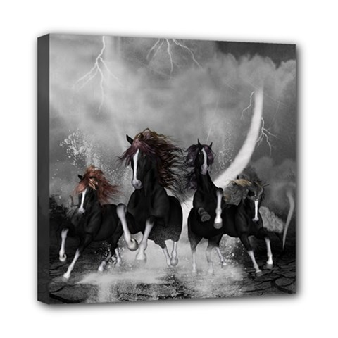 Awesome Wild Black Horses Running In The Night Mini Canvas 8  X 8  by FantasyWorld7