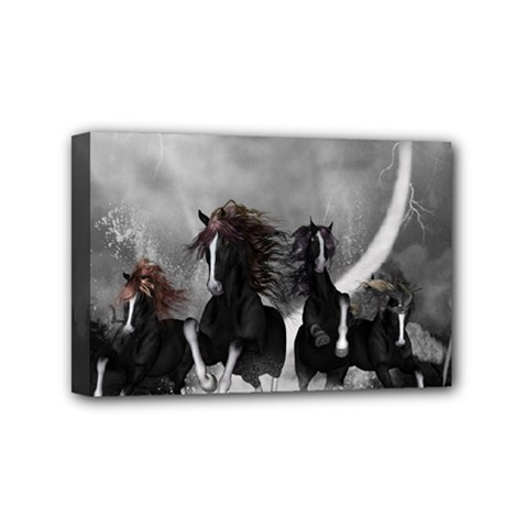 Awesome Wild Black Horses Running In The Night Mini Canvas 6  X 4  by FantasyWorld7