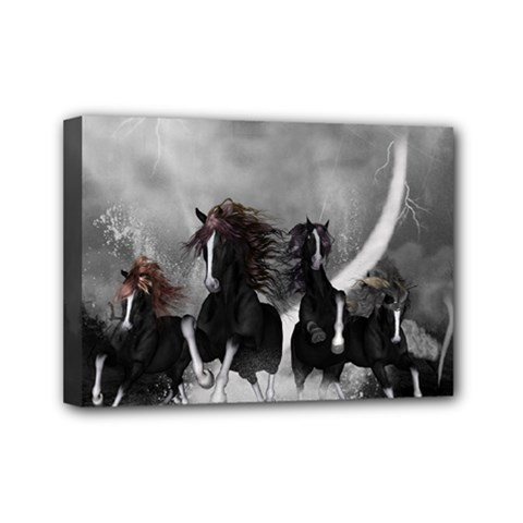 Awesome Wild Black Horses Running In The Night Mini Canvas 7  X 5  by FantasyWorld7