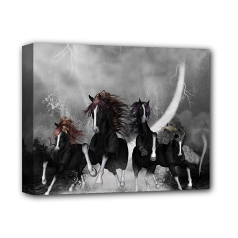 Awesome Wild Black Horses Running In The Night Deluxe Canvas 14  X 11  by FantasyWorld7
