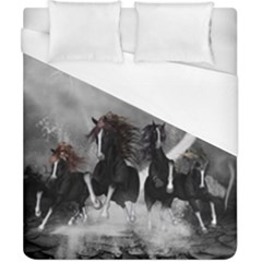 Awesome Wild Black Horses Running In The Night Duvet Cover (california King Size) by FantasyWorld7