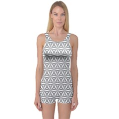 Seamless Pattern Monochrome Repeat One Piece Boyleg Swimsuit by Nexatart