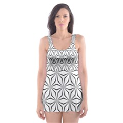 Seamless Pattern Monochrome Repeat Skater Dress Swimsuit by Nexatart