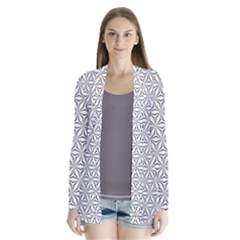 Seamless Pattern Monochrome Repeat Drape Collar Cardigan by Nexatart