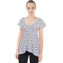 Seamless Pattern Monochrome Repeat Lace Front Dolly Top