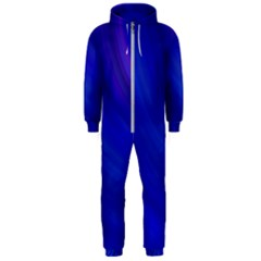 Blue Background Abstract Blue Hooded Jumpsuit (men)