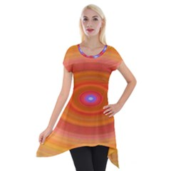 Ellipse Background Orange Oval Short Sleeve Side Drop Tunic