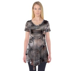 Fireplace Flame Burn Firewood Short Sleeve Tunic